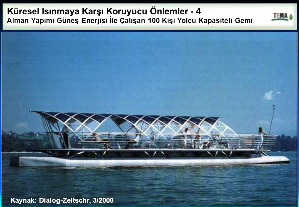 Küresel Isınmaya Karşı Koruyucu Önlemler - 4 Alman Yapımı Güneş Enerjisi İle Çalışan 100 Kişi Yolcu Kapasiteli Gemi Kaynak: Dialog-Zeitschr, 3/2000
