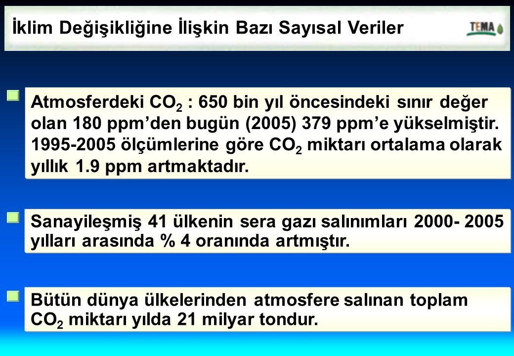 İklim Değişikliğine İlişkin Bazı Sayısal Veriler Atmosferdeki CO 2 : 650 bin yıl öncesindeki sınır değer olan 180 ppm'den bugün (2005) 379 ppm'e yükse