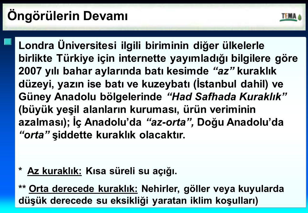 Öngörülerin Devamı Londra Üniversitesi ilgili biriminin diğer ülkelerle birlikte Türkiye için internette yayımladığı bilgilere göre 2007 yılı bahar ay