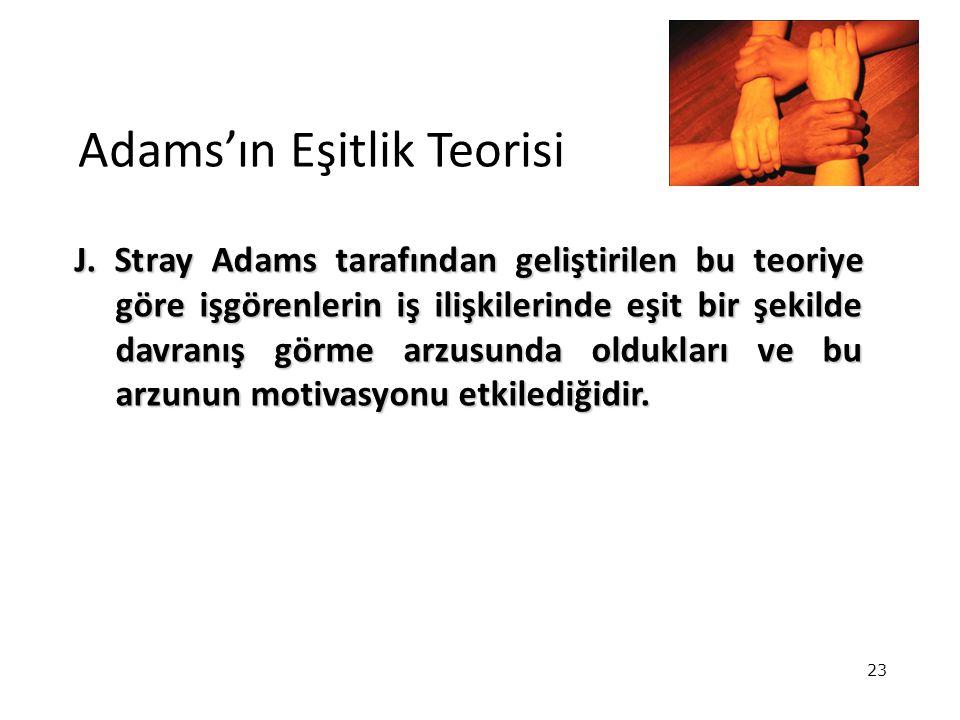 23 Adams'ın Eşitlik Teorisi J. Stray Adams tarafından geliştirilen bu teoriye göre işgörenlerin iş ilişkilerinde eşit bir şekilde davranış görme arzus