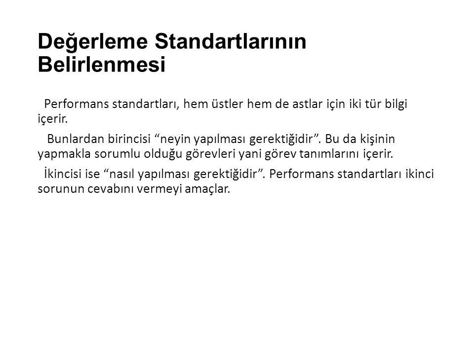 """Değerleme Standartlarının Belirlenmesi Performans standartları, hem üstler hem de astlar için iki tür bilgi içerir. Bunlardan birincisi """"neyin yapılma"""