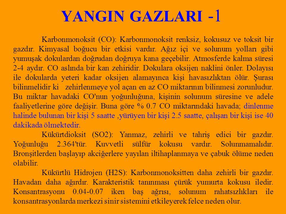 YANGIN GAZLARI -1 Karbonmonoksit (CO): Karbonmonoksit renksiz, kokusuz ve toksit bir gazdır.