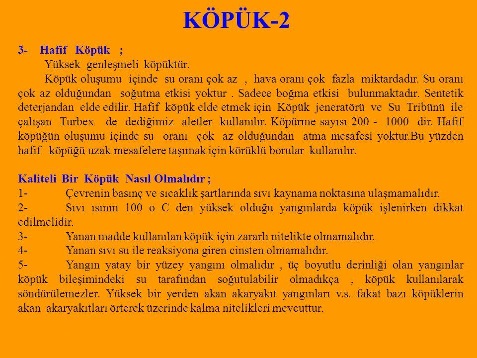 KÖPÜK-2 3- Hafif Köpük ; Yüksek genleşmeli köpüktür.