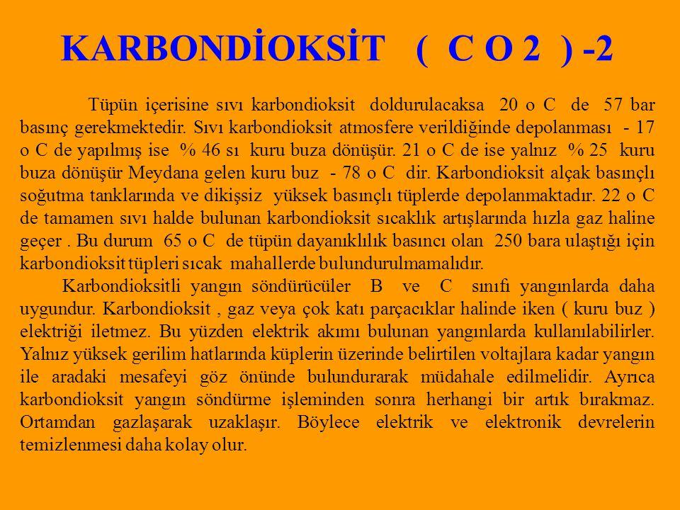 KARBONDİOKSİT ( C O 2 ) -2 Tüpün içerisine sıvı karbondioksit doldurulacaksa 20 o C de 57 bar basınç gerekmektedir.