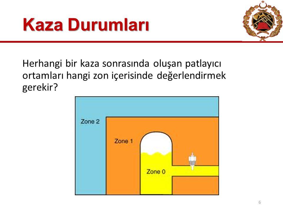 Kaza Durumları Herhangi bir kaza sonrasında oluşan patlayıcı ortamları hangi zon içerisinde değerlendirmek gerekir.