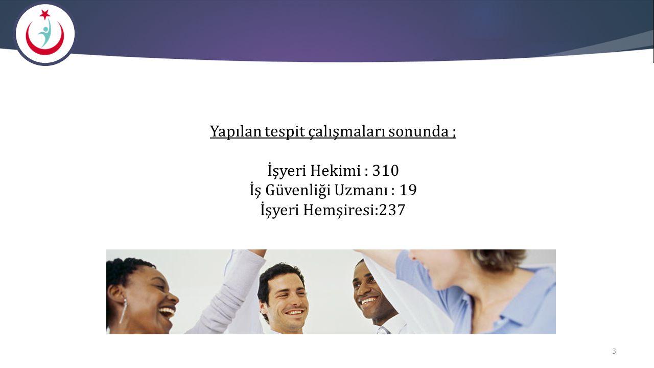 Yapılan tespit çalışmaları sonunda ; İşyeri Hekimi : 310 İş Güvenliği Uzmanı : 19 İşyeri Hemşiresi:237 3