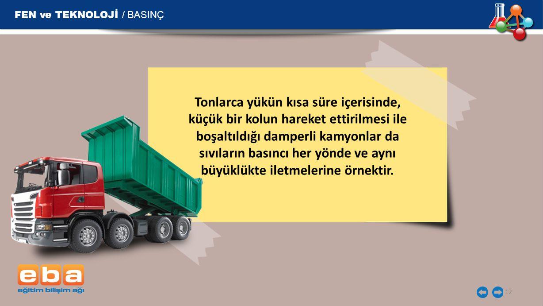 FEN ve TEKNOLOJİ / BASINÇ 12 Tonlarca yükün kısa süre içerisinde, küçük bir kolun hareket ettirilmesi ile boşaltıldığı damperli kamyonlar da sıvıların
