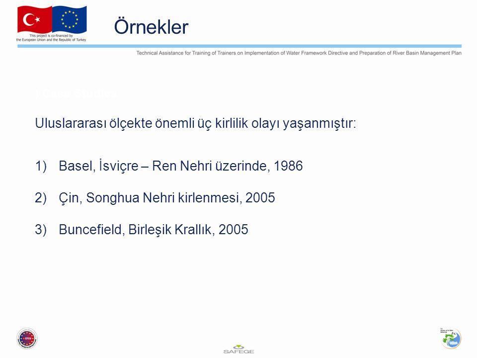 Örnekler ) Case Studies Uluslararası ölçekte önemli üç kirlilik olayı yaşanmıştır: 1)Basel, İsviçre – Ren Nehri üzerinde, 1986 2)Çin, Songhua Nehri kirlenmesi, 2005 3)Buncefield, Birleşik Krallık, 2005