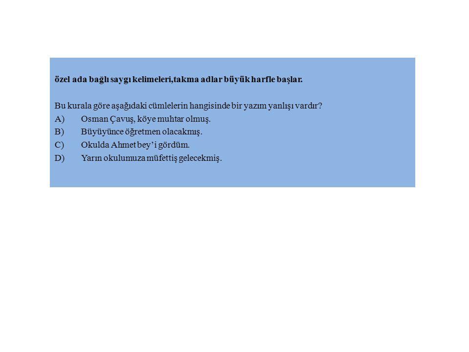 özel ada bağlı saygı kelimeleri,takma adlar büyük harfle başlar. Bu kurala göre aşağıdaki cümlelerin hangisinde bir yazım yanlışı vardır? A)Osman Çavu