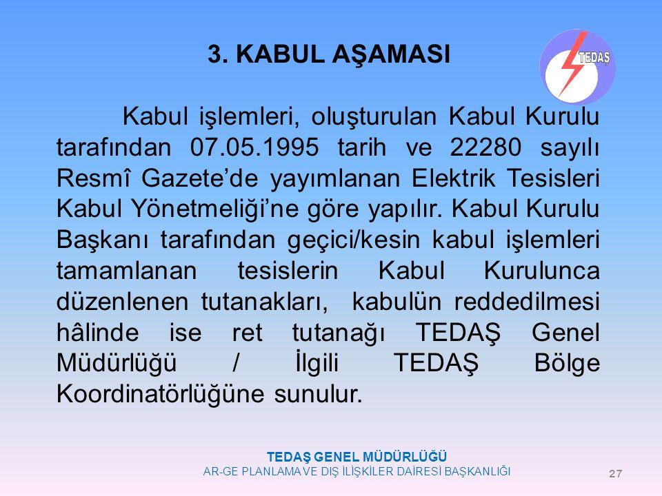 TEDAŞ GENEL MÜDÜRLÜĞÜ AR-GE PLANLAMA VE DIŞ İLİŞKİLER DAİRESİ BAŞKANLIĞI 3. KABUL AŞAMASI Kabul işlemleri, oluşturulan Kabul Kurulu tarafından 07.05.1