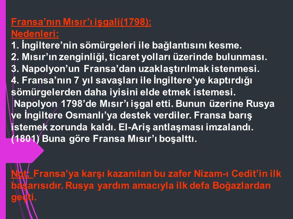Osmanlı-Rusya-Avusturya Savaşları(1787-1792): Nedenleri: 1. Rusya'nın Kırım'ı işgal etmesi,Halk üzerinde baskı uygulaması. 2. Katerina'nın Yunan(Grek)