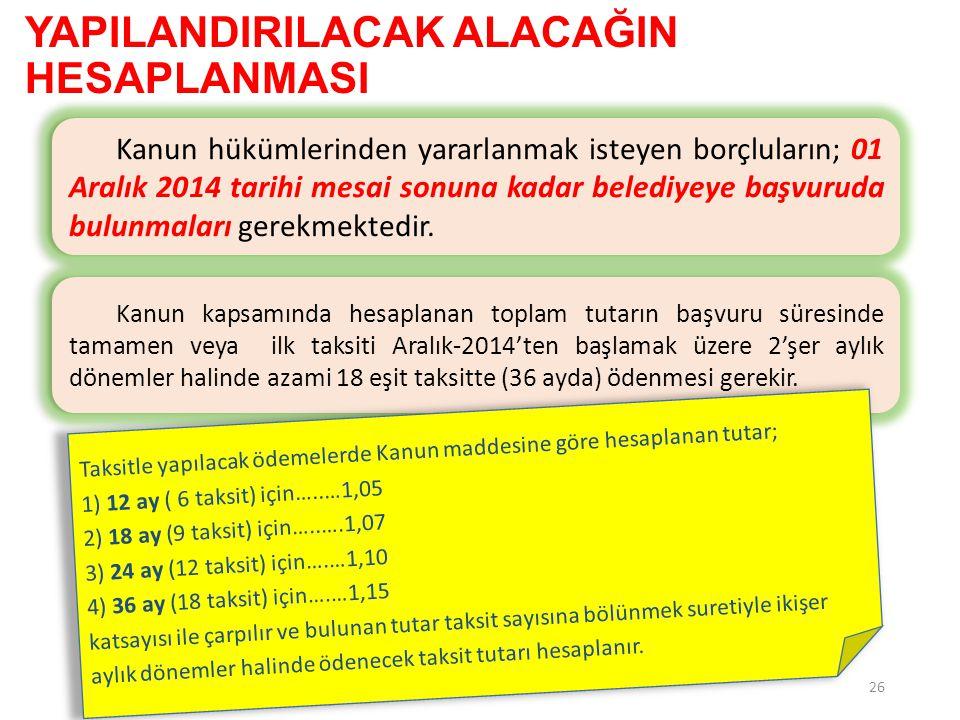 YAPILANDIRILACAK ALACAĞIN HESAPLANMASI 26 Kanun hükümlerinden yararlanmak isteyen borçluların; 01 Aralık 2014 tarihi mesai sonuna kadar belediyeye baş