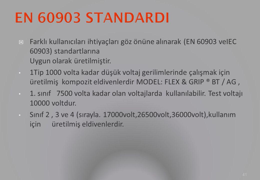  Farklı kullanıcıları ihtiyaçları göz önüne alınarak (EN 60903 veIEC 60903) standartlarına Uygun olarak üretilmiştir. 1Tip 1000 volta kadar düşük vol