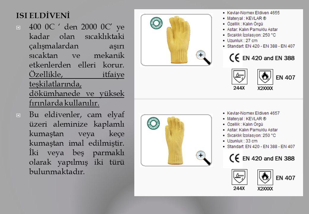 ISI ELDİVENİ  400 0C ' den 2000 0C' ye kadar olan sıcaklıktaki çalışmalardan aşırı sıcaktan ve mekanik etkenlerden elleri korur.