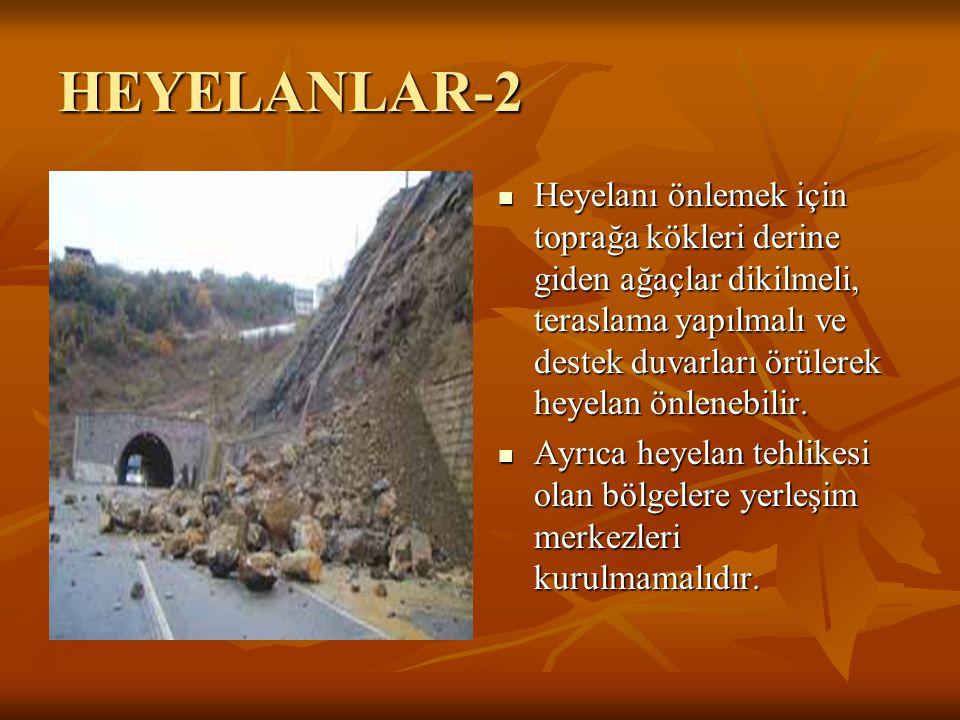 HEYELANLAR-2 Heyelanı önlemek için toprağa kökleri derine giden ağaçlar dikilmeli, teraslama yapılmalı ve destek duvarları örülerek heyelan önlenebili