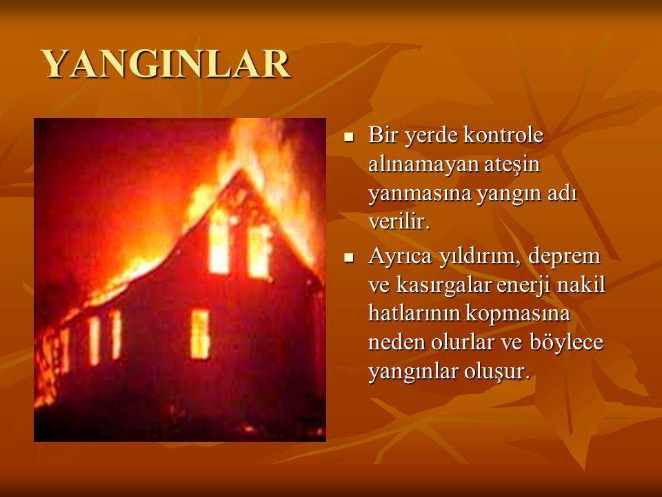 YANGINLAR Bir yerde kontrole alınamayan ateşin yanmasına yangın adı verilir. Ayrıca yıldırım, deprem ve kasırgalar enerji nakil hatlarının kopmasına n