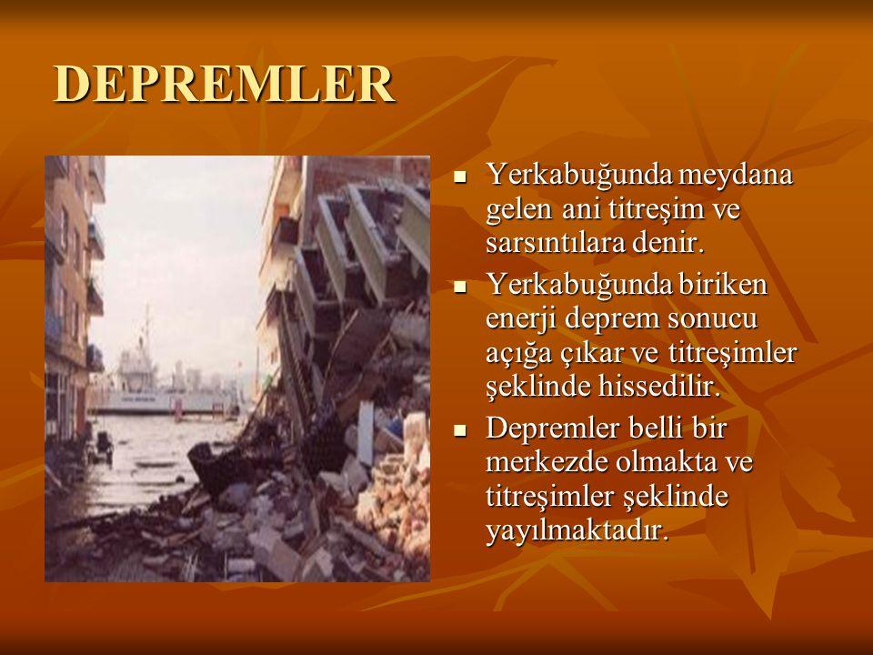 DEPREMLER Yerkabuğunda meydana gelen ani titreşim ve sarsıntılara denir. Yerkabuğunda biriken enerji deprem sonucu açığa çıkar ve titreşimler şeklinde