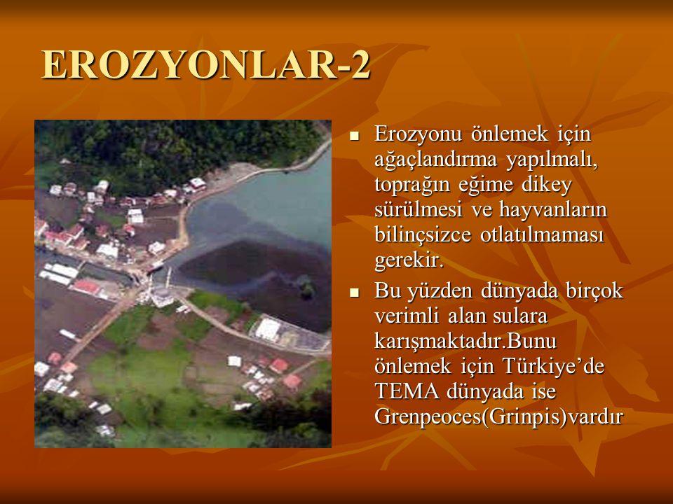 EROZYONLAR-2 Erozyonu önlemek için ağaçlandırma yapılmalı, toprağın eğime dikey sürülmesi ve hayvanların bilinçsizce otlatılmaması gerekir. Bu yüzden