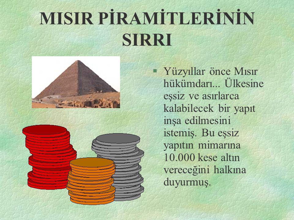 MISIR PİRAMİTLERİNİN SIRRI §Yüzyıllar önce Mısır hükümdarı... Ülkesine eşsiz ve asırlarca kalabilecek bir yapıt inşa edilmesini istemiş. Bu eşsiz yapı