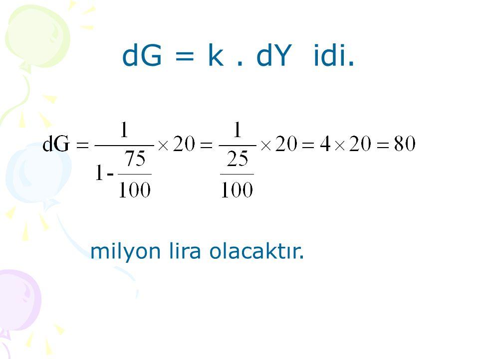 dG = k. dY idi. milyon lira olacaktır.