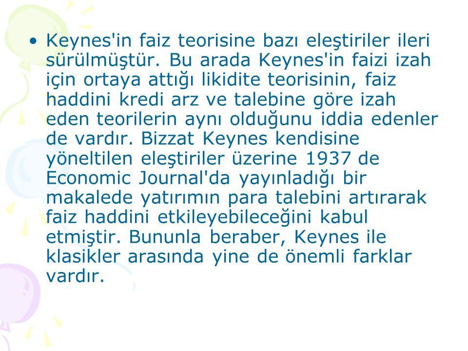Keynes'in faiz teorisine bazı eleştiriler ileri sürülmüştür. Bu arada Keynes'in faizi izah için ortaya attığı likidite teorisinin, faiz haddini kredi