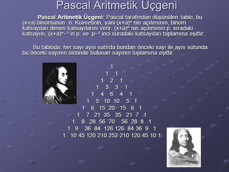Pascal Aritmetik Üçgeni Pascal Aritmetik Üçgeni: Pascal tarafından düşünülen tablo, bu (x+a) binomunun n. Kuvvetinin, yani (x+a)ⁿ nin açılımının, bino