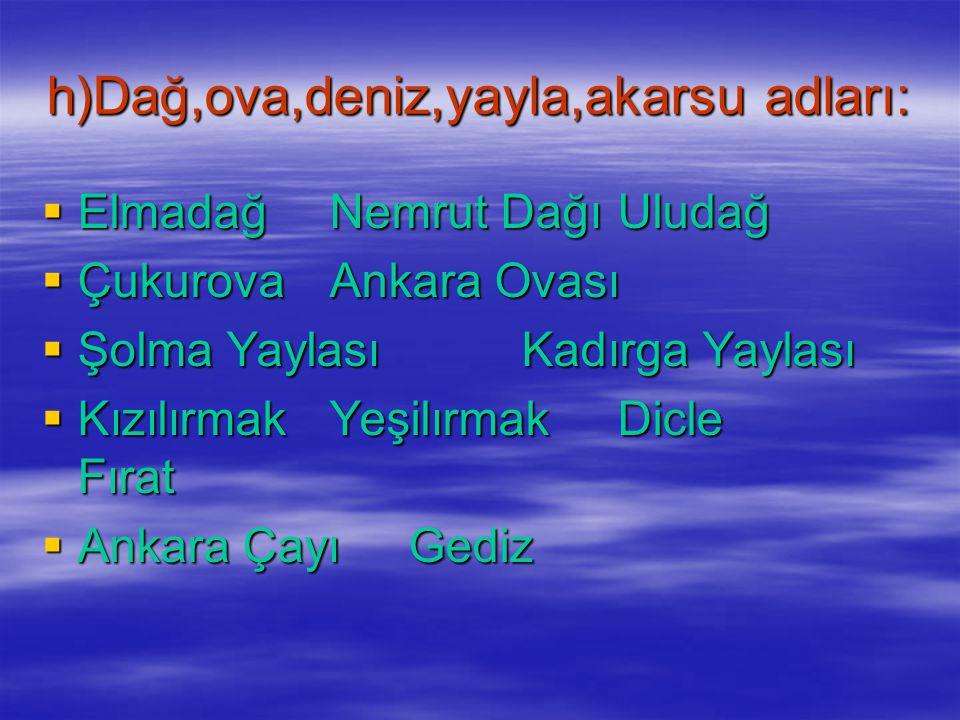 g)Mahalle,cadde,sokak adları:  Bağlarbaşı Mahallesi  Yeşiltepe Mahallesi  Adnan Menderes Mahallesi  Atatürk Caddesi  Kızlar Pınarı Caddesi  23.S