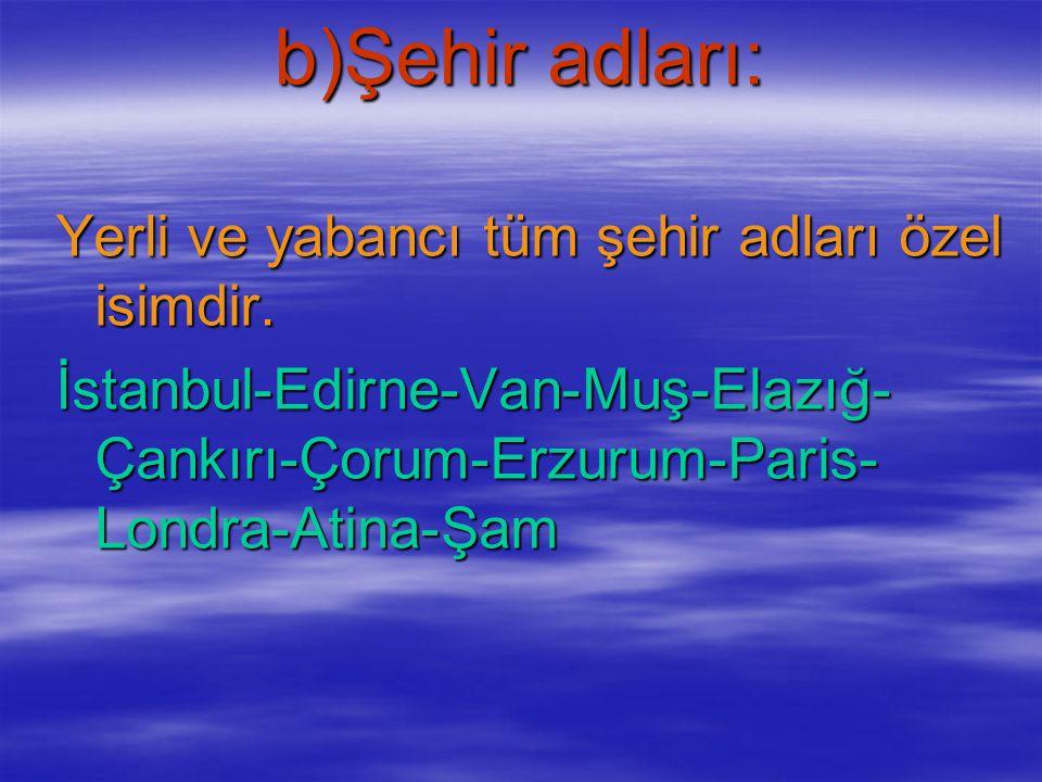 a)Kişi adları: İnsanların isimleri özel isimdir. Meltem-Mustafa-Pelin-Hüseyin- Cengiz-Batur-Sema-Berfin-Zehra- Recep-Enes-Yusuf-Ahmet........