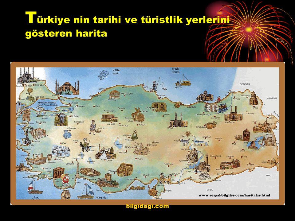 T ürkiye nin tarihi ve türistlik yerlerini gösteren harita bilgidagi.com
