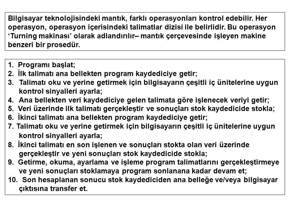 Program yüklü bilgisayarda, her farklı programla bilgisayarın hesaplama operasyonları değişir, ancak tüm hesaplamalar Von Neumann bilgisayar mantığını izler.