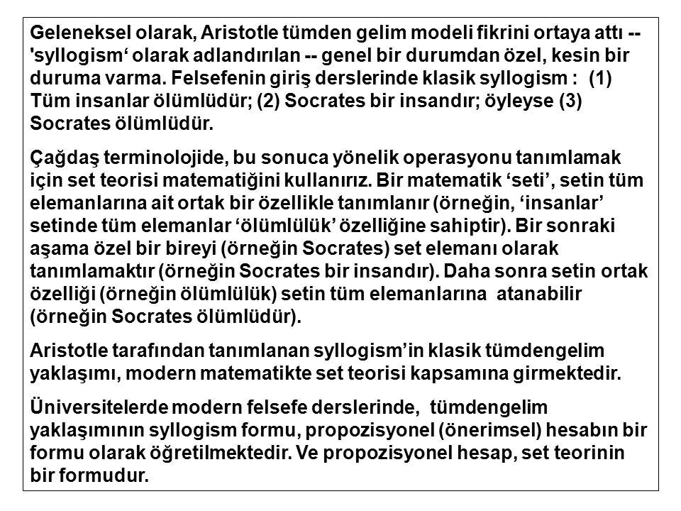 Geleneksel olarak, Aristotle tümden gelim modeli fikrini ortaya attı -- 'syllogism' olarak adlandırılan -- genel bir durumdan özel, kesin bir duruma v