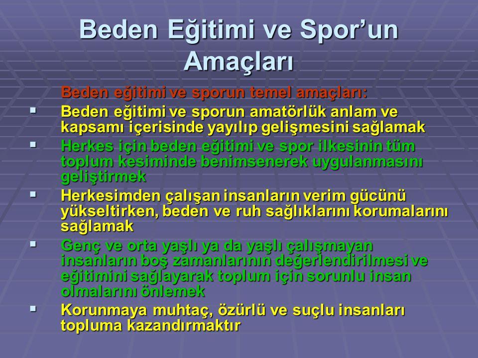 Beden Eğitimi ve Spor'un Amaçları Beden eğitimi ve sporun temel amaçları:  Beden eğitimi ve sporun amatörlük anlam ve kapsamı içerisinde yayılıp geli