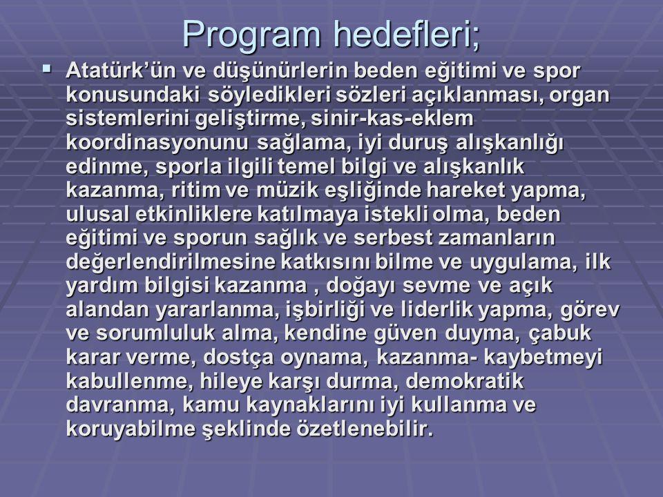 Program hedefleri;  Atatürk'ün ve düşünürlerin beden eğitimi ve spor konusundaki söyledikleri sözleri açıklanması, organ sistemlerini geliştirme, sin