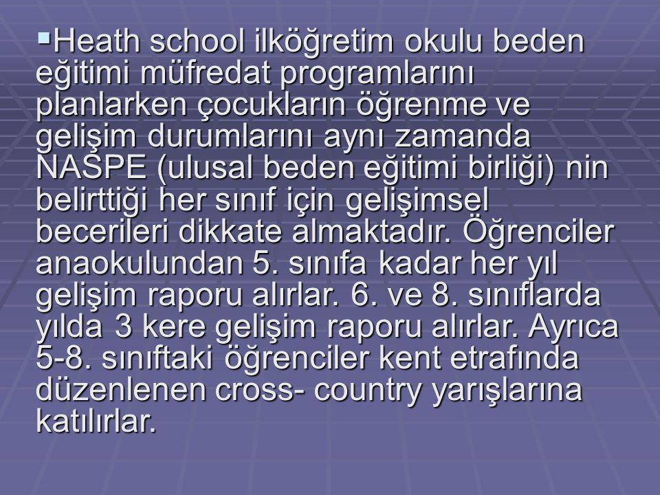  Heath school ilköğretim okulu beden eğitimi müfredat programlarını planlarken çocukların öğrenme ve gelişim durumlarını aynı zamanda NASPE (ulusal b