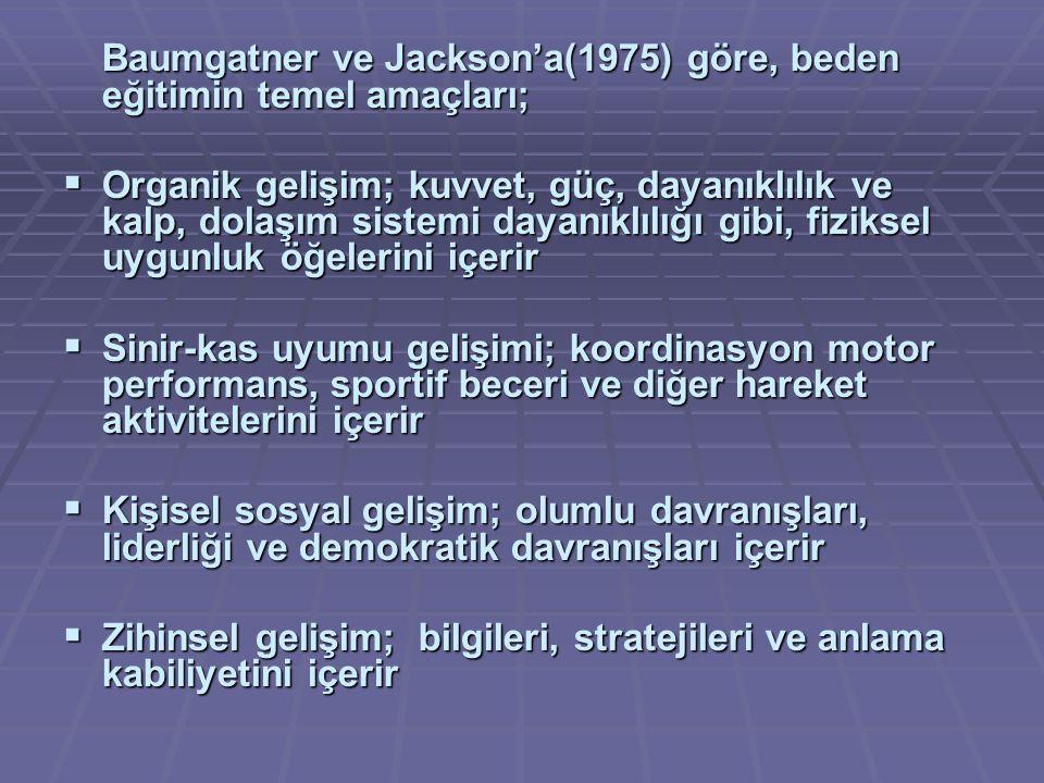 Baumgatner ve Jackson'a(1975) göre, beden eğitimin temel amaçları;  Organik gelişim; kuvvet, güç, dayanıklılık ve kalp, dolaşım sistemi dayanıklılığı