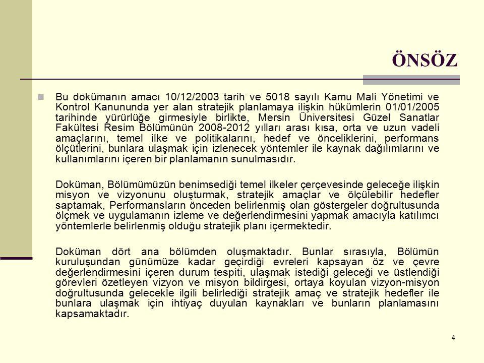 4 ÖNSÖZ Bu dokümanın amacı 10/12/2003 tarih ve 5018 sayılı Kamu Mali Yönetimi ve Kontrol Kanununda yer alan stratejik planlamaya ilişkin hükümlerin 01