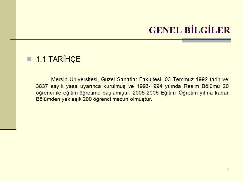 5 GENEL BİLGİLER 1.1 TARİHÇE Mersin Üniversitesi, Güzel Sanatlar Fakültesi, 03 Temmuz 1992 tarih ve 3837 sayılı yasa uyarınca kurulmuş ve 1993-1994 yılında Resim Bölümü 20 öğrenci ile eğitim-öğretime başlamıştır.