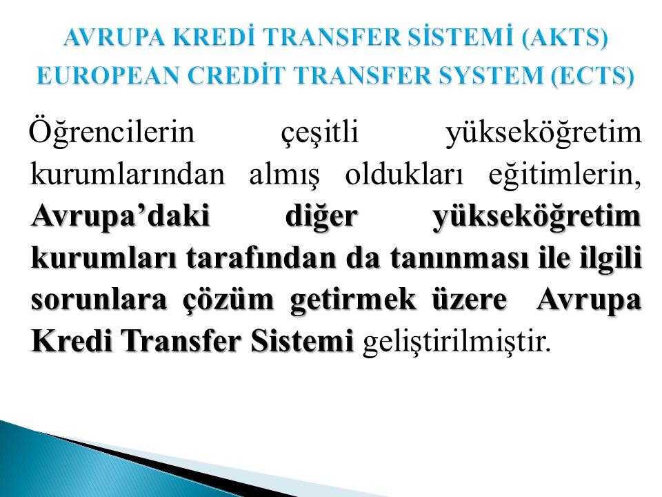 Avrupa'daki diğer yükseköğretim kurumları tarafından da tanınması ile ilgili sorunlara çözüm getirmek üzere Avrupa Kredi Transfer Sistemi Öğrencilerin çeşitli yükseköğretim kurumlarından almış oldukları eğitimlerin, Avrupa'daki diğer yükseköğretim kurumları tarafından da tanınması ile ilgili sorunlara çözüm getirmek üzere Avrupa Kredi Transfer Sistemi geliştirilmiştir.