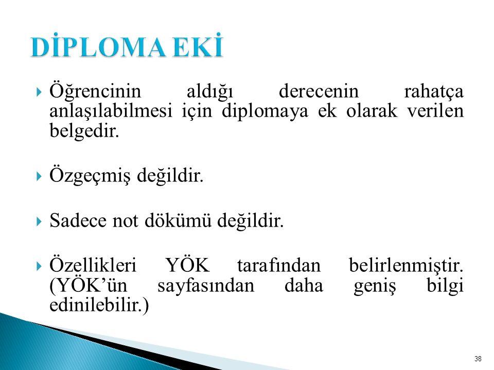  Öğrencinin aldığı derecenin rahatça anlaşılabilmesi için diplomaya ek olarak verilen belgedir.