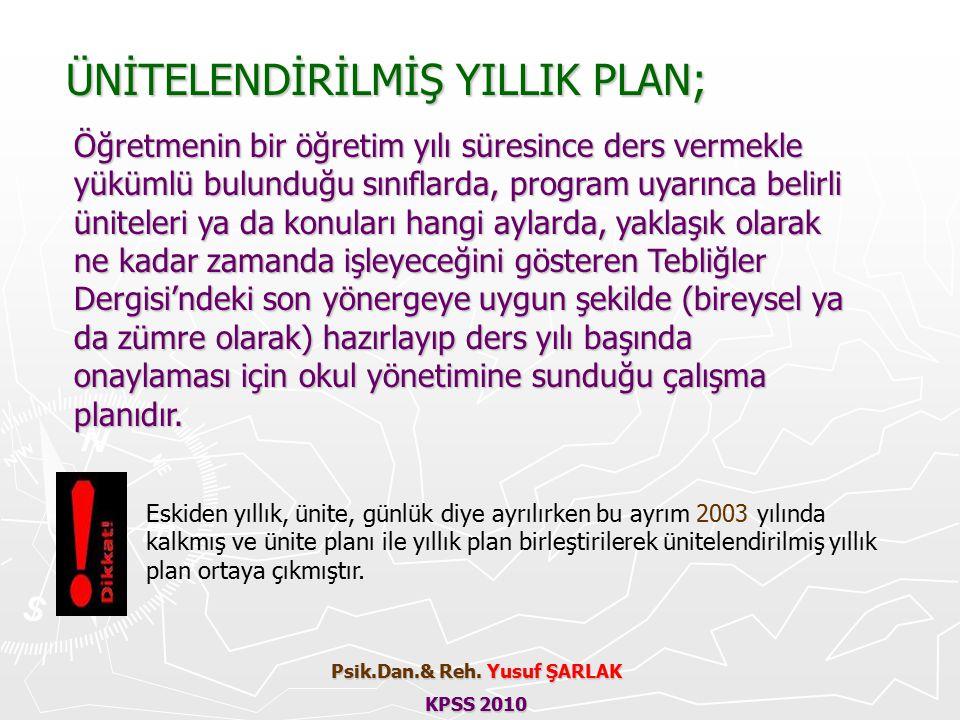 Eskiden yıllık, ünite, günlük diye ayrılırken bu ayrım 2003 yılında kalkmış ve ünite planı ile yıllık plan birleştirilerek ünitelendirilmiş yıllık plan ortaya çıkmıştır.