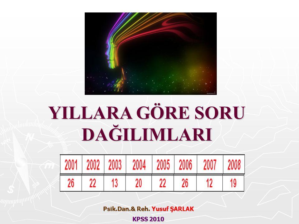YILLARA GÖRE SORU DAĞILIMLARI Psik.Dan.& Reh. Yusuf ŞARLAK KPSS 2010