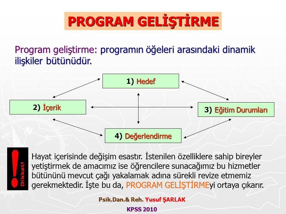 PROGRAM GELİŞTİRME Program geliştirme: programın öğeleri arasındaki dinamik ilişkiler bütünüdür.