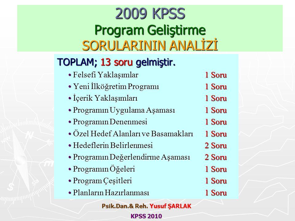 2009 KPSS Program Geliştirme SORULARININ ANALİZİ TOPLAM; 13 soru gelmiştir.