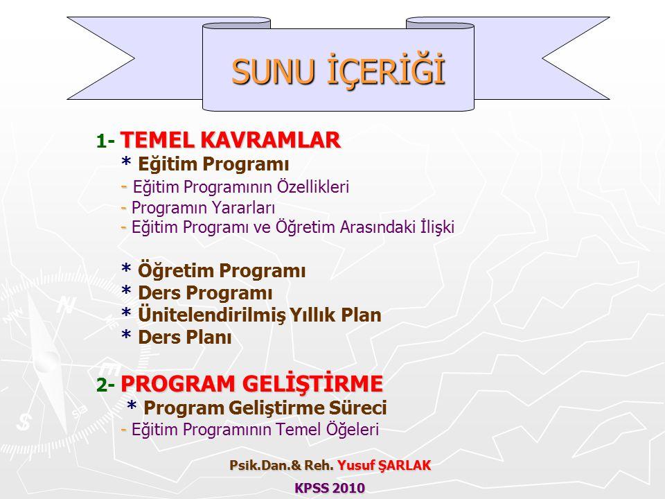 TEMEL KAVRAMLAR 1- TEMEL KAVRAMLAR * Eğitim Programı - - Eğitim Programının Özellikleri - - Programın Yararları - - Eğitim Programı ve Öğretim Arasındaki İlişki * Öğretim Programı * Ders Programı * Ünitelendirilmiş Yıllık Plan * Ders Planı PROGRAM GELİŞTİRME 2- PROGRAM GELİŞTİRME * Program Geliştirme Süreci - - Eğitim Programının Temel Öğeleri SUNU İÇERİĞİ Psik.Dan.& Reh.