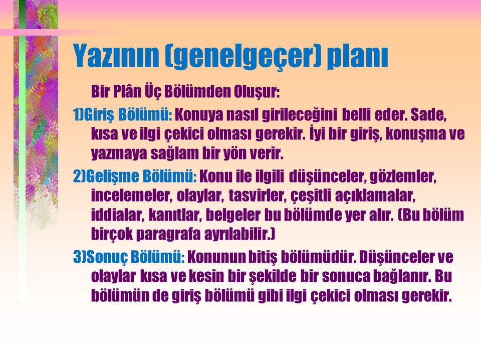 Yazının (genelgeçer) planı Bir Plân Üç Bölümden Oluşur: 1)Giriş Bölümü: Konuya nasıl girileceğini belli eder.