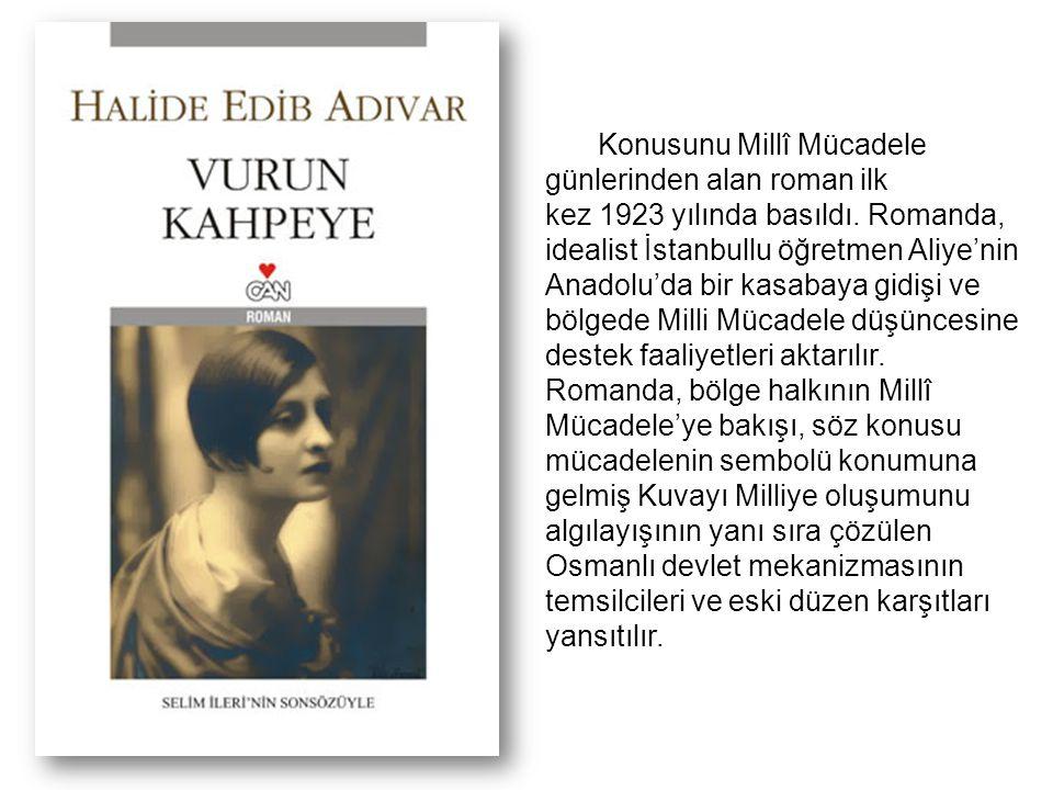 Konusunu Millî Mücadele günlerinden alan roman ilk kez 1923 yılında basıldı. Romanda, idealist İstanbullu öğretmen Aliye'nin Anadolu'da bir kasabaya g