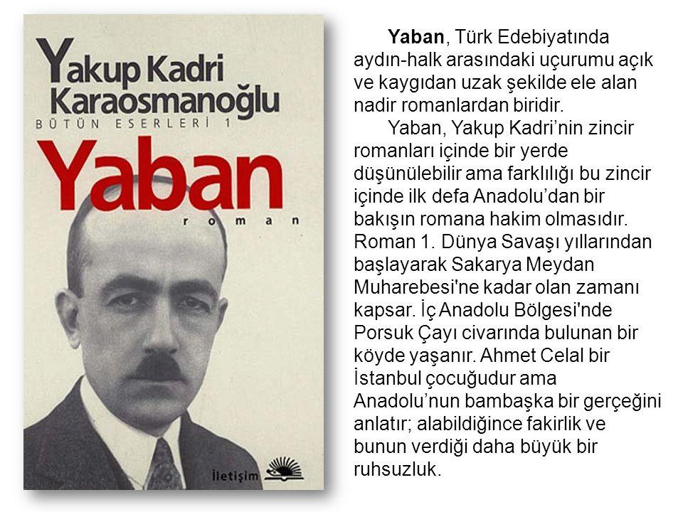 Yaban, Türk Edebiyatında aydın-halk arasındaki uçurumu açık ve kaygıdan uzak şekilde ele alan nadir romanlardan biridir. Yaban, Yakup Kadri'nin zincir
