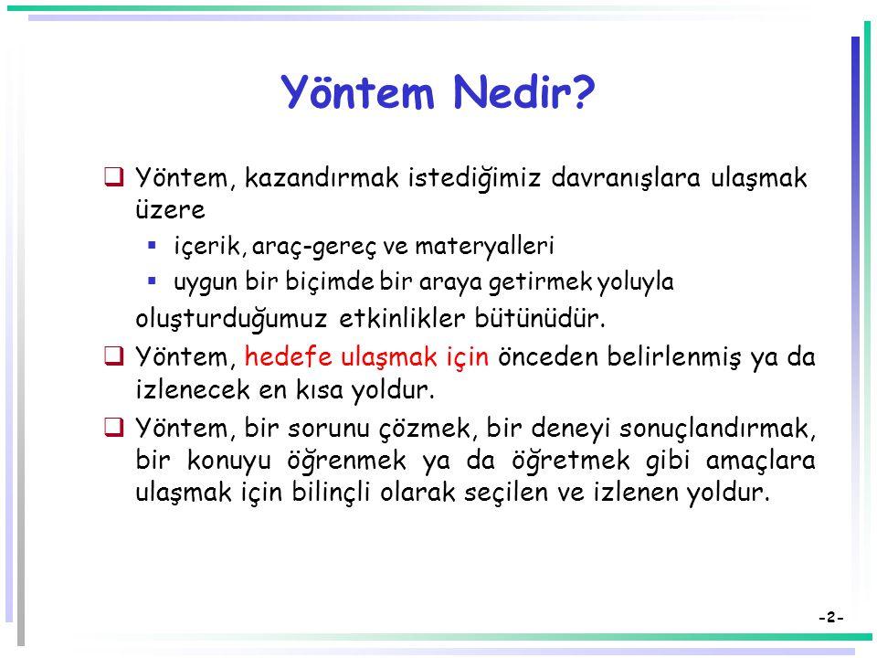 Öğretimde Kullanılan Yöntemler Dr. Süleyman Sadi SEFEROĞLU Hacettepe Üniversitesi, Eğitim Fakültesi Bilgisayar ve Öğretim Teknolojileri Eğitimi Bölümü
