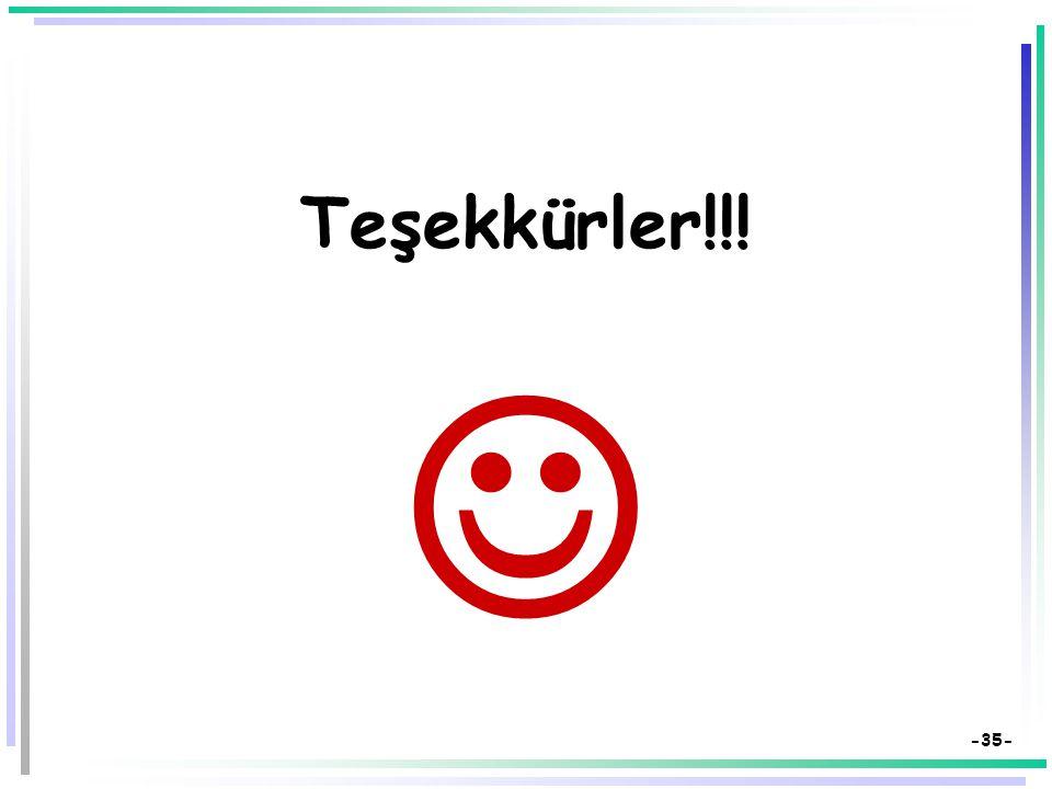 -34- Kaynakça  Bilen, M. (1999). Plandan uygulamaya öğretim. Ankara: Anı Yayıncılık.  Demirel, Özcan (2008). Öğretim İlke ve Yöntemleri: Öğretme san