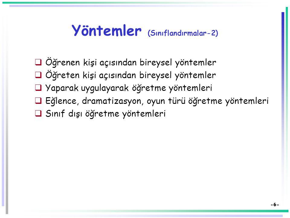 -5- Yöntemler (Sınıflandırmalar-1)  Gözlem ve Gözleme Dayanan Yöntemler  1- Gözlem, 2- Deney, 3- Gösteri,  4- Yaparak ve yaşayarak öğrenme (iş) yön